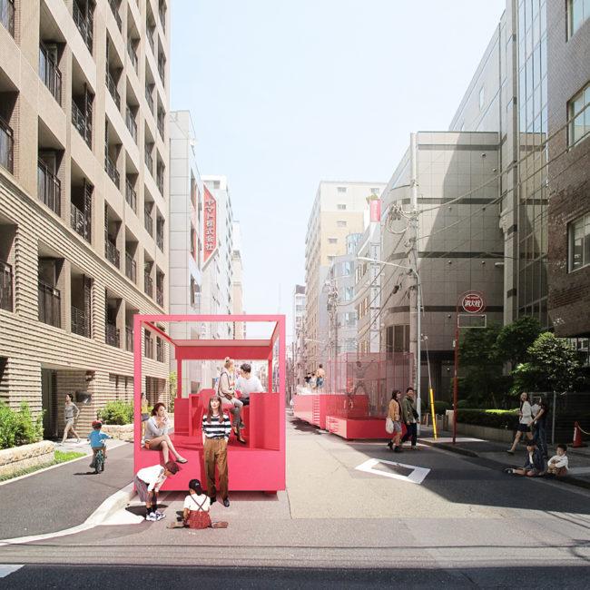 tokyo, street, parking lot, fun pink