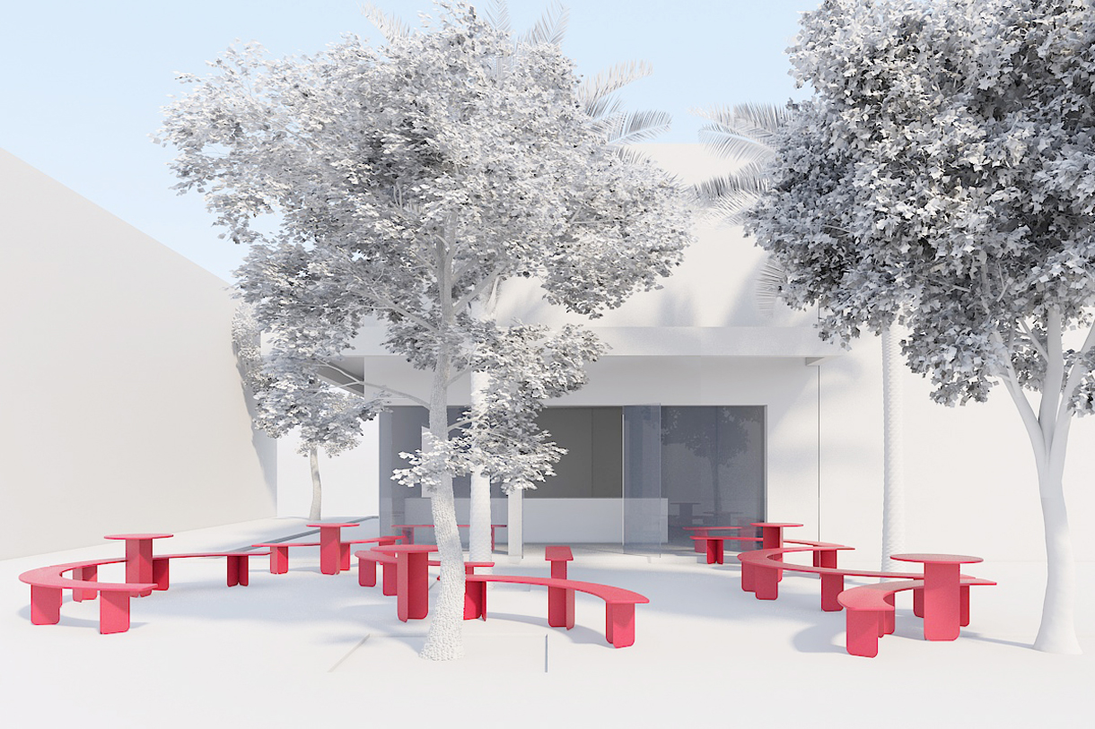 pink installation, bench, terrazzo, ice cream
